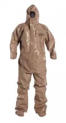 DuPont™ Tychem® CPF 3 Coverall. Certified to NFPA 1992. Respirator Fit Hood. Elastic Wrists. Attached Socks with Outer Boot Flaps. Double Storm Flap with Hook & Loop Closure. Taped Seams. Tan.