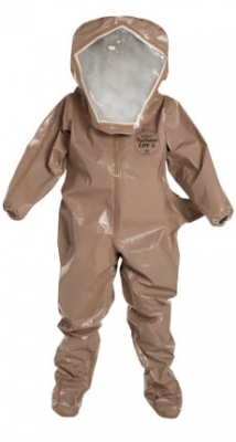 DuPont™ Tychem® CPF 3 Encapsulated Level B Suit. Flat Back, Rear Entry. Standard Visor, 1 Layer: 20 mil PVC. Elastic Wrists. Attached Socks with Outer Boot Flaps. Double Storm Flap with Hook & Loop Closure. Airline Access. One Exhaust Vent. Taped Seams. Tan.