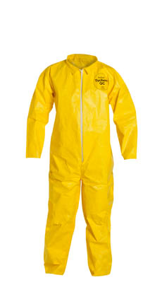 DuPont™ Tychem® QC Coverall, QC120 Dupont™ Tychem® QC Disposable Chemical Coveralls, high-visibility yellow