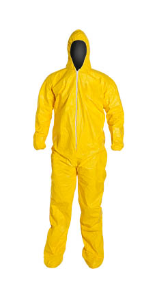 QC122SYL DuPont™ Tychem® QC Disposable Chemical-Resistant Protective Coveralls w/ Hood/Boots, High Vis Yellow color