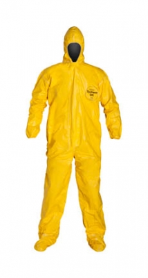 DuPont™ Tychem® QC Coverall. Standard Fit Hood. Elastic Wrists. Attached Socks. Storm Flap with Adhesive Closure. Taped Seams. Yellow.
