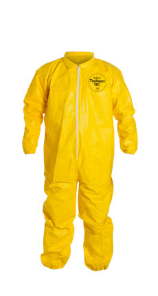 QC125SYL DuPont™ Tychem® QC Chemical-Resistant Protective Protective Coveralls w/ Elastic, High-Vis Yellow color