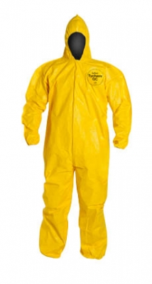 DuPont™ Tychem® QC Coverall. Standard Fit Hood. Elastic Wrists and Ankles. Storm Flap with Adhesive Closure. Bound Seams. Yellow.