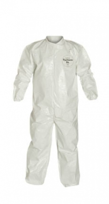DuPont™ Tychem® SL Coverall. Collar. Elastic Wrists and Ankles. Storm Flap with Adhesive Closure. Bound Seams. White.