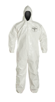 DuPont™ Tychem® SL Coverall, SL127BWH DuPont™ Tychem® SL Disposable Protective Coveralls w/ Hood/Elastic, White