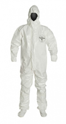 DuPont™ Tychem® SL Coverall. Respirator Fit Hood. Elastic Wrists. Attached Socks with Outer Boot Flaps. Storm Flap with Adhesive Closure. Taped Seams. White.