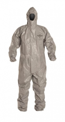 DuPont™ Tychem® F Coverall. Respirator Fit Hood. Elastic Wrists and Ankles. Storm Flap. Taped Seams. Gray.