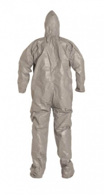 DuPont™ Tychem® F Coverall. Respirator Fit Hood. Elastic Wrists. Attached Socks. Storm Flap. Taped Seams. Gray.
