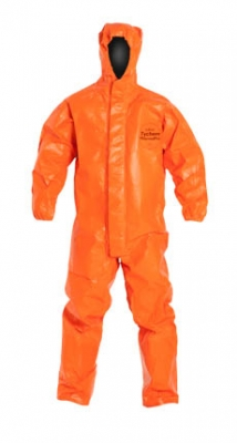 DuPont™ Tychem® ThermoPro Coverall. Certified to NFPA 1992, NFPA 2112, and the Category 2 Requirements of NFPA 70E. Respirator Fit, Drawstring Hood. Elastic Wrists. Open Ankles. Double Storm Flap with Hook & Loop Closure. Taped Seams. Orange.