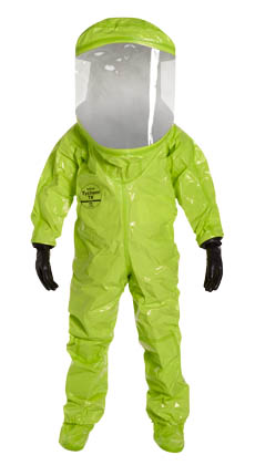 TK555TLY DuPont™ Tychem® TK Encapsulated Level A Suit. Expanded Back, Rear Entry. Extra-Wide Visor, 3 Layers: 40 mil PVC / Teflon® 5 mil / 20 mil PVC. Attached Dual Layer Gloves Internal: Multi-layer laminate / External: Butyl. Attached Socks with Outer Boot Flaps. Double Storm Flap with Hook & Loop Closure. Two Exhaust Valves. Double Taped Seams. Lime Yellow.