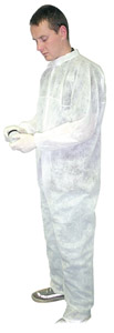 White MDS Economy Disposable Polypropylene Protective Standard Coveralls