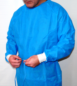 Disposable Protective Heavy Weight Polypropylene Chemo Barrier Gowns. Blue.