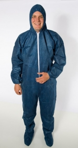 #DCBF-SIZE Safety Zone® Disposable Blue Polypropylene Protective Coveralls w/ Hood & Booties, Jump Suits,
