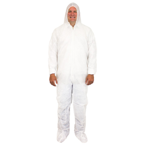 Keystone® 30 Gram Polypropylene Coveralls w/ Elastic Cuffs, Attached Booties and Hood