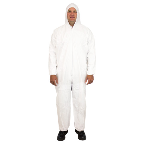 #CVL-KG-HE KEYGUARD COVERALL WITH ELASTIC WRISTS AND ANKLES-ZIPPER FRONT-ATTACHED HOOD