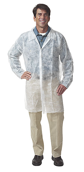 Safety Zone® White Polypropylene Lab Coats w/ No Pockets, Elastic Cuffs