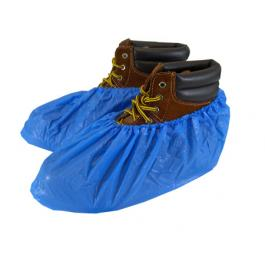 Safety Zone® Disposable Polyethylene Non-Skid Shoe Covers, Blue, Waterproof, Impervious