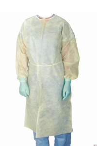 Disposable Protective Impervious PE Coated Cover Gowns w/ Elastic Cuffs