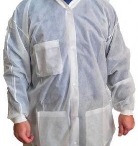 MDS Economy Disposable Polypropylene Protective  Lab Coats w/ Pockets & Knit Cuffs