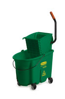 Rubbermaid® Commercial 35 Qt WaveBrake® Color-Coded Mop Bucket & Wringer  Side Press Combo- Green
