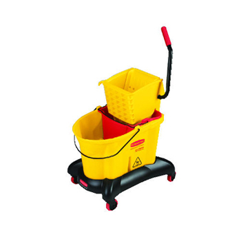 Rubbermaid® Commercial 35 Qt WaveBrake® Dual-Water Mop Bucket & Wringer w/ Sideward or Downward Pressure Wringer