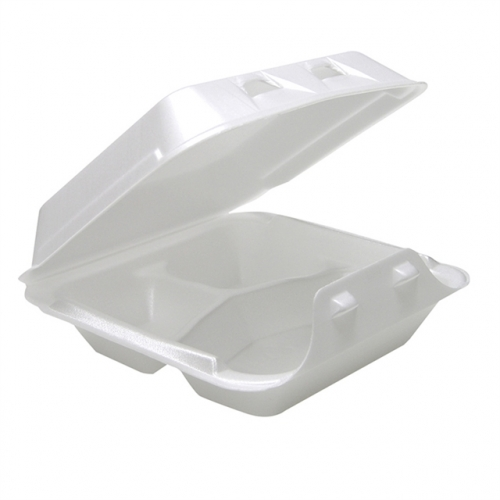 Pactiv Small Three Compartment Foam Hinged Carryout Containers