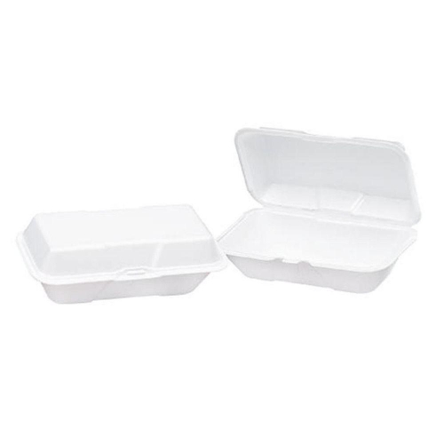 Genpak® Large White Hinged Foam Carryout Containers with Locking Lid