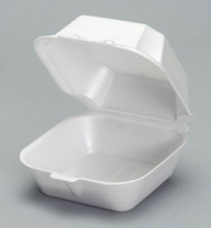 Genpak® Large Sandwich White Foam Carryout Containers  with Hinged Locking Lid