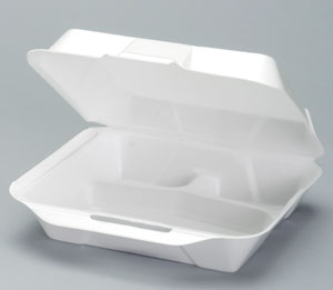 Genpak® Jumbo White Hinged Foam Carryout Containers with Locking Lid