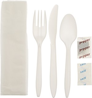 Disposable Medium Weight 5 Piece Cutlery Kit includes knife, fork, teaspoon, salt, pepper and napkin