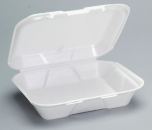 Genpak® Small White Foam Carryout Containers  with Hinged Locking Lid