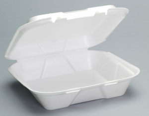 Genpak® Large White Vented Hinged Foam Carryout Containers with Locking Lid