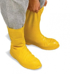 MDS Yellow Latex Hazmat Protective Industrial Boot Covers w/ Textured Sole