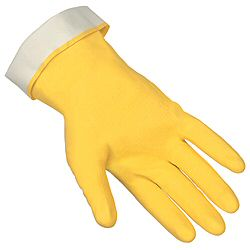 Economy Flock-Lined 18-mil Latex Rubber Chemical-Resistant Gloves