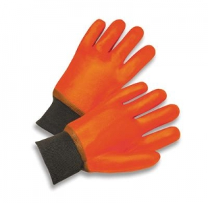 Economy Fluorescent Orange Foam Lined Chemical-Resistant PVC Gloves w/ Knitwrist
