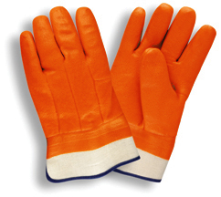 Economy Fluorescent Orange Foam Lined Chemical-Resistant PVC Gloves w/ Safety Cuff