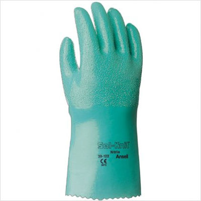 39122 Ansell® Sol-Knit® Flock-Lined Unsupported Chemical-Resistant Nitrile Gloves