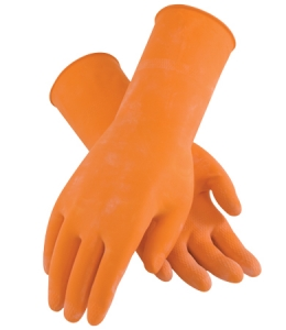 48-L185T PIP® Assurance® Flock-Lined Orange 18-mil Chemical-Resistant Latex Gloves