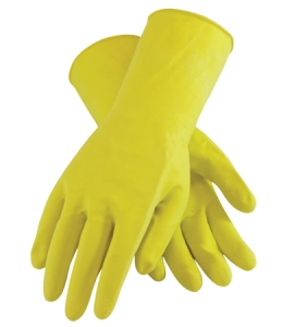 48L185Y PIP Assurance® Flock-Lined Yellow 18-mil Chemical-Resistant Latex Gloves