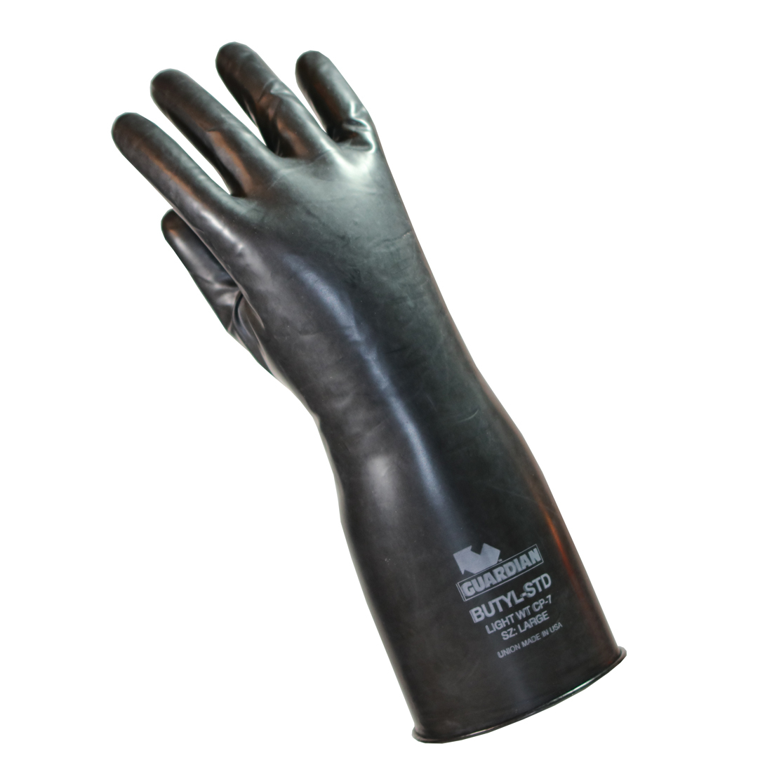 7 mil Thickness Rough Grip XS 14 Length Guardian Manufacturing 50901 Butyl Chemical Resistant Rubber Glove