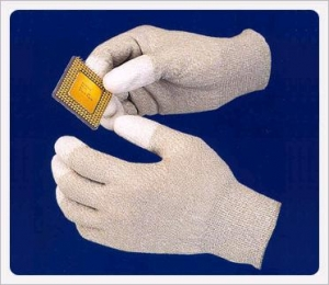 Seamless Electostatic Dissipative (ESD) Nylon Gloves, Coated Fingertips, 406416 PIP CleanTeam® Seamless ESD Coated Nylon Cleanroom Gloves