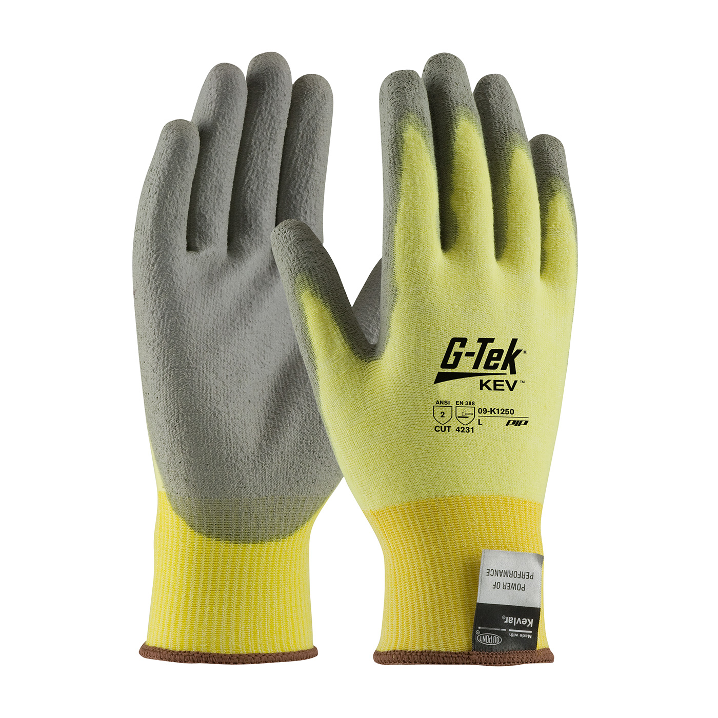 09K1250 PIP G-Tek™ Polyurethane Coated Kevlar® Cut-Resistant Protective Work Gloves. Cut level 2.