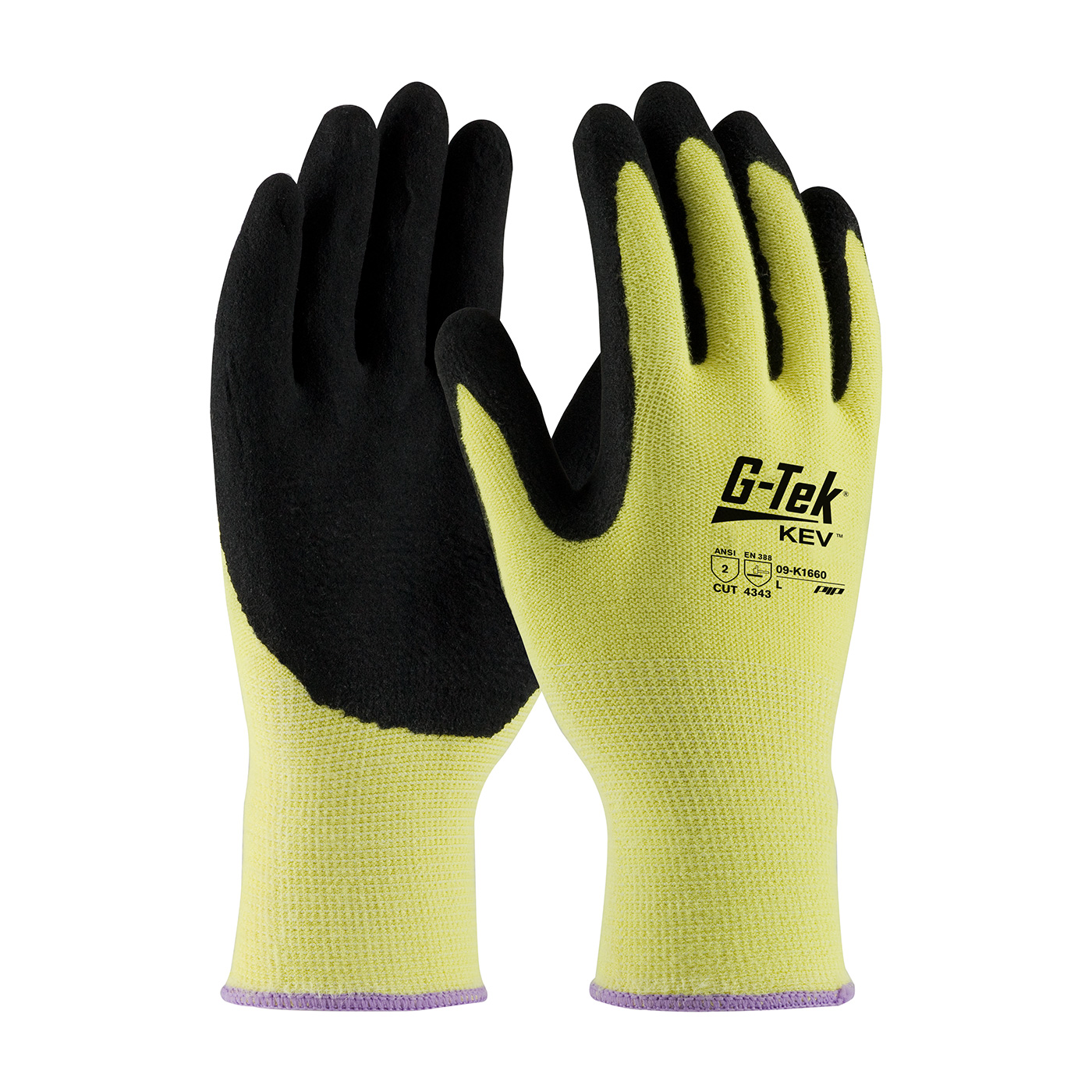 09-K1660 G-Tek™ KEV 13 gauge Kevlar knit gloves with MicroSurface nitrile grip