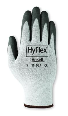 11624 Ansell® HyFlex® #11-624  Polyurethane Palm Coated Dyneema® Cut-Resistant Protective Work Gloves. Cut level 2.