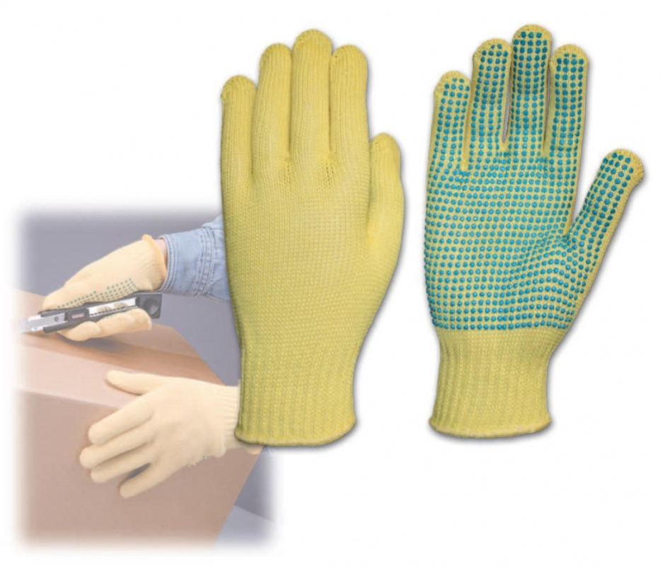 PIP Kut-Gard® Kevlar® Cut-Resistant Work Gloves w/ PVC Dots. Cut level 2