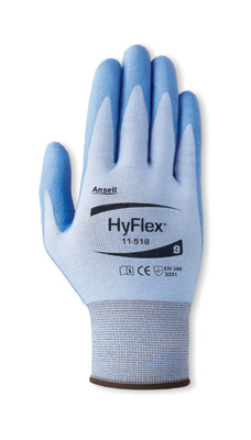 11518] Ansell® HyFlex® #11-518 Cut-Resistant Polyurethane Palm Coated Work Gloves. Cut level 2.