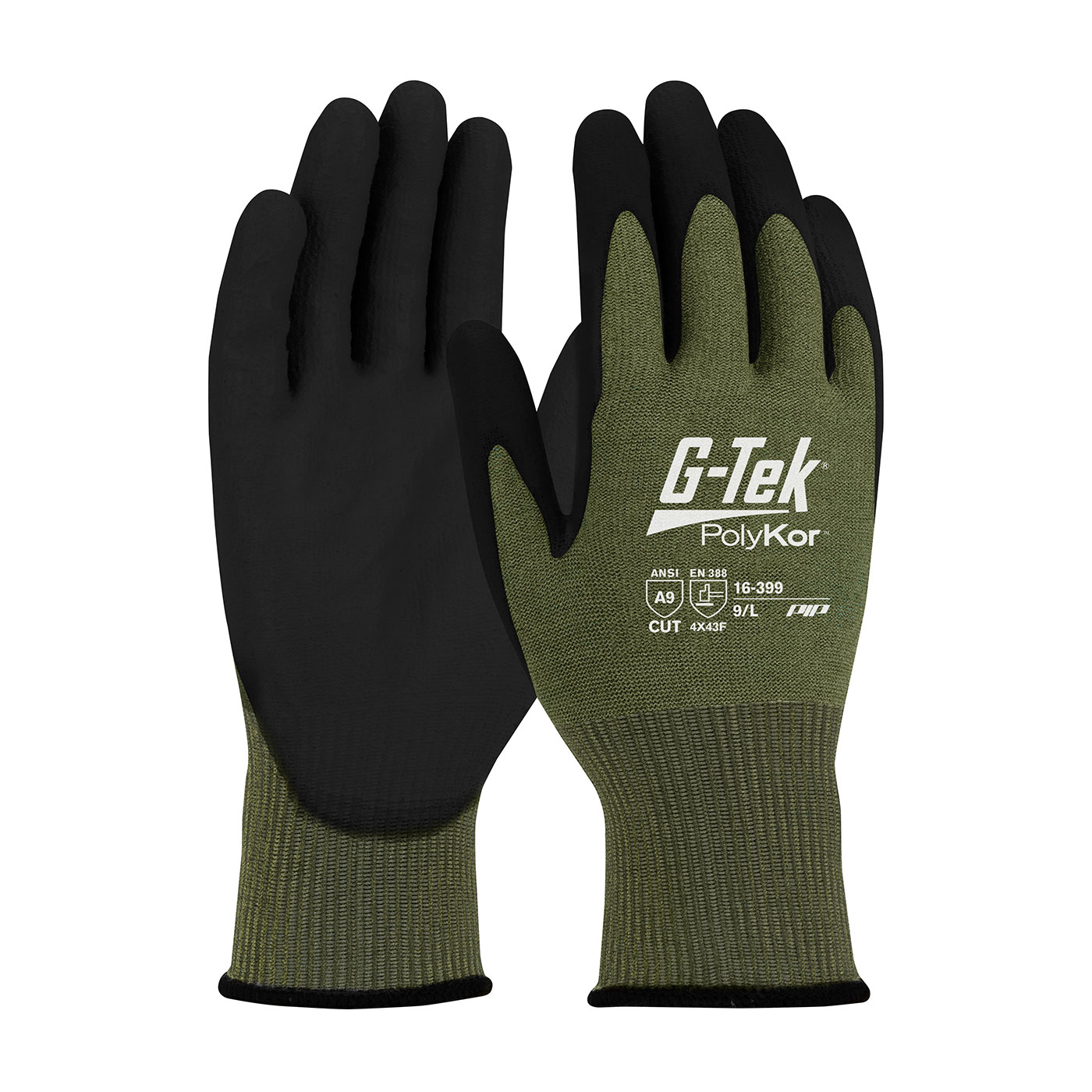 16-399 PIP® G-Tek® PolyKor® X7™ Seamless Knit X7™ Blended Glove with NeoFoam® Coated MicroSurface Grip on Palm & Fingers - Touchscreen Compatible