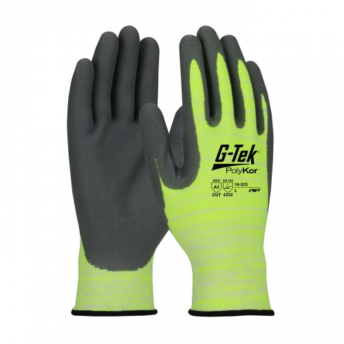 #16-323 PIP® G-Tek® PolyKor™ Seamless Knit Hi-Vis Glove with Nitrile Coated Foam Grip on Palm & Finger
