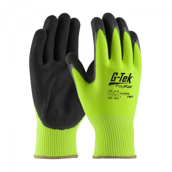 PIP G-Tek® PolyKor™ Hi-Vis Double Dipped Nitrile Coated Gloves #16-340LG