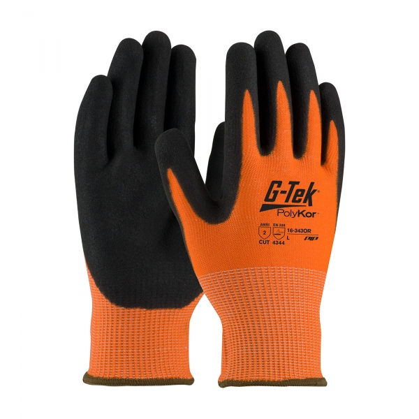 #16-343OR PIP® G-Tek® PolyKor™ Hi-Vis Nitrile Coated Gloves